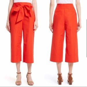 Kate Spade Orange Wide Leg Crop Culotte Pants